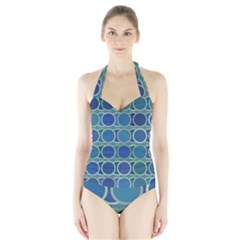 Circles Abstract Blue Pattern Halter Swimsuit
