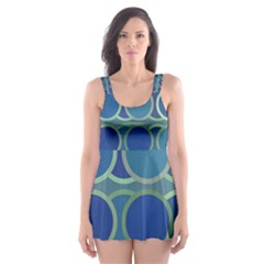 Circles Abstract Blue Pattern Skater Dress Swimsuit
