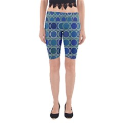 Circles Abstract Blue Pattern Yoga Cropped Leggings