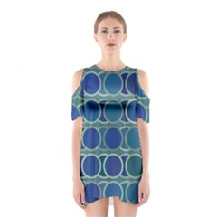 Circles Abstract Blue Pattern Shoulder Cutout One Piece