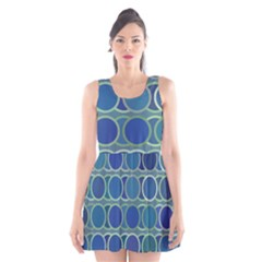 Circles Abstract Blue Pattern Scoop Neck Skater Dress