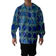Circles Abstract Blue Pattern Hooded Wind Breaker (Kids)