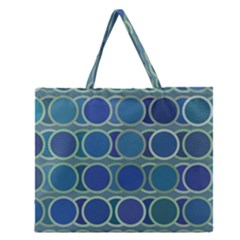 Circles Abstract Blue Pattern Zipper Large Tote Bag