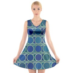 Circles Abstract Blue Pattern V Neck Sleeveless Skater Dress