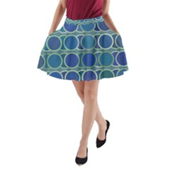 Circles Abstract Blue Pattern A-Line Pocket Skirt