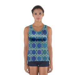 Circles Abstract Blue Pattern Women s Sport Tank Top