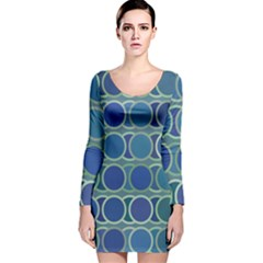 Circles Abstract Blue Pattern Long Sleeve Velvet Bodycon Dress