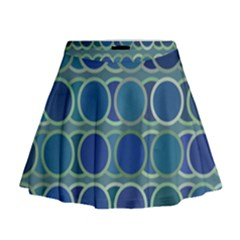 Circles Abstract Blue Pattern Mini Flare Skirt