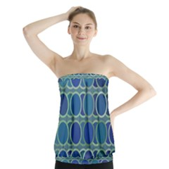 Circles Abstract Blue Pattern Strapless Top