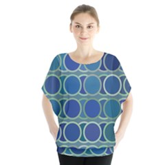 Circles Abstract Blue Pattern Blouse