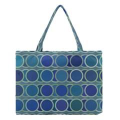Circles Abstract Blue Pattern Medium Tote Bag