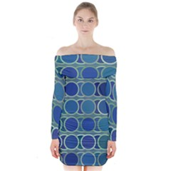 Circles Abstract Blue Pattern Long Sleeve Off Shoulder Dress