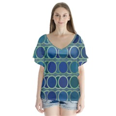 Circles Abstract Blue Pattern Flutter Sleeve Top