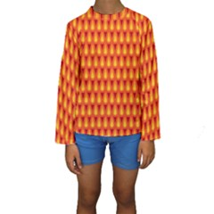Simple Minimal Flame Background Kids  Long Sleeve Swimwear