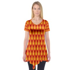 Simple Minimal Flame Background Short Sleeve Tunic
