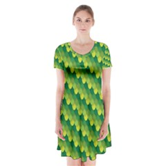 Dragon Scale Scales Pattern Short Sleeve V Neck Flare Dress