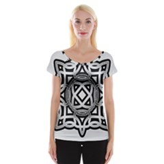 Celtic Draw Drawing Hand Draw Women s Cap Sleeve Top