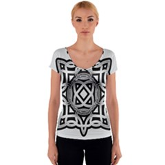 Celtic Draw Drawing Hand Draw Women s V-Neck Cap Sleeve Top