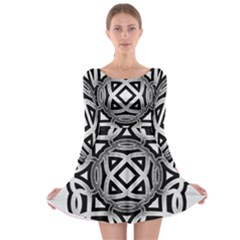 Celtic Draw Drawing Hand Draw Long Sleeve Skater Dress