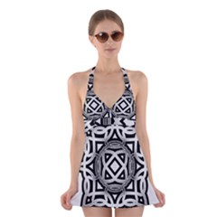 Celtic Draw Drawing Hand Draw Halter Swimsuit Dress