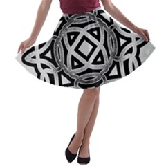 Celtic Draw Drawing Hand Draw A-line Skater Skirt