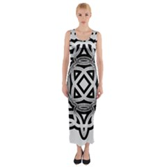 Celtic Draw Drawing Hand Draw Fitted Maxi Dress