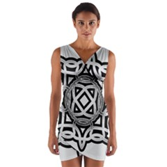 Celtic Draw Drawing Hand Draw Wrap Front Bodycon Dress