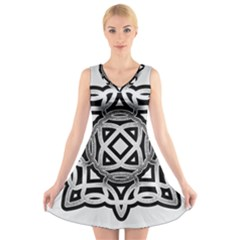 Celtic Draw Drawing Hand Draw V Neck Sleeveless Skater Dress