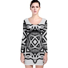Celtic Draw Drawing Hand Draw Long Sleeve Velvet Bodycon Dress