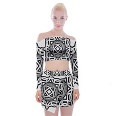 Celtic Draw Drawing Hand Draw Off Shoulder Top With Skirt Set