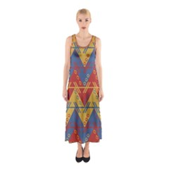 Aztec Traditional Ethnic Pattern Sleeveless Maxi Dress
