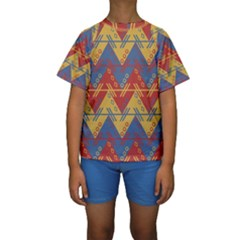 Aztec Traditional Ethnic Pattern Kids  Short Sleeve Swimwear