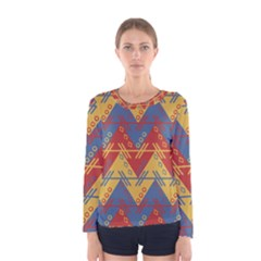 Aztec Traditional Ethnic Pattern Women s Long Sleeve Tee