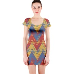 Aztec traditional ethnic pattern Short Sleeve Bodycon Dress