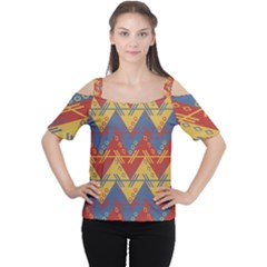 Aztec Traditional Ethnic Pattern Women s Cutout Shoulder Tee