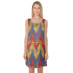 Aztec Traditional Ethnic Pattern Sleeveless Satin Nightdress