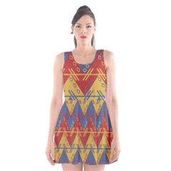 Aztec traditional ethnic pattern Scoop Neck Skater Dress