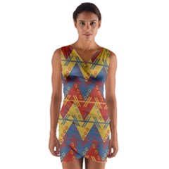 Aztec Traditional Ethnic Pattern Wrap Front Bodycon Dress