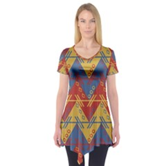Aztec traditional ethnic pattern Short Sleeve Tunic
