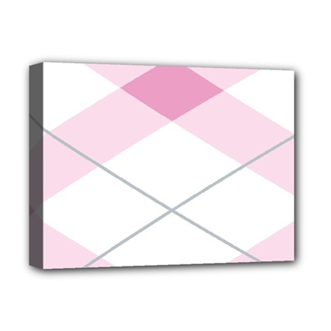 Tablecloth Stripes Diamonds Pink Deluxe Canvas 16  x 12