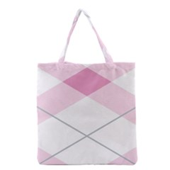 Tablecloth Stripes Diamonds Pink Grocery Tote Bag