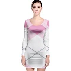 Tablecloth Stripes Diamonds Pink Long Sleeve Bodycon Dress