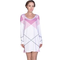 Tablecloth Stripes Diamonds Pink Long Sleeve Nightdress