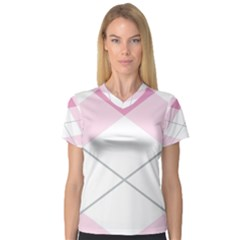 Tablecloth Stripes Diamonds Pink Women s V Neck Sport Mesh Tee