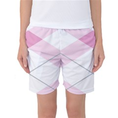 Tablecloth Stripes Diamonds Pink Women s Basketball Shorts