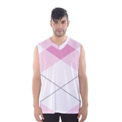 Tablecloth Stripes Diamonds Pink Men s Basketball Tank Top