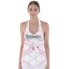 Tablecloth Stripes Diamonds Pink Babydoll Tankini Top