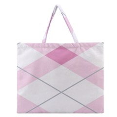 Tablecloth Stripes Diamonds Pink Zipper Large Tote Bag