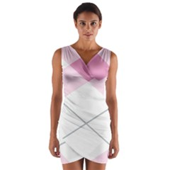 Tablecloth Stripes Diamonds Pink Wrap Front Bodycon Dress