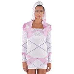 Tablecloth Stripes Diamonds Pink Women s Long Sleeve Hooded T-shirt